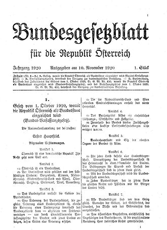 Federal Constitutional Law (Austrian act) - Federal Law Gazette for the Austrian Republic (1920)