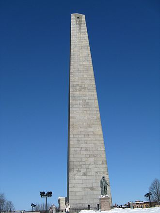 Breed's Hill - The Bunker Hill Monument is located at the top of Breed's Hill