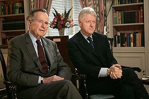 Post-presidency of Bill Clinton - Clinton with former President George H. W. Bush in January 2005.