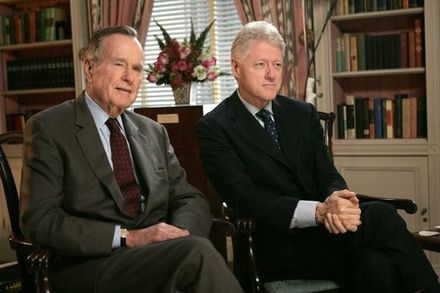 Former president George H. W. Bush and Clinton in the White House Library, January 2005 Bush and Clinton.jpg