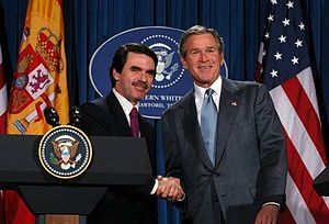 José María Aznar - Aznar and George W. Bush in February 2003. Aznar supported the U.S. invasion of Iraq that year, despite major domestic opposition