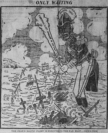 Togo Heihachiro (personifying the Imperial Japanese Navy) stands at Port Arthur among the wreckage of the Pacific Fleet, wielding his club; off in the distance, the Baltic Fleet approaches. Bushnell cartoon about the Japanese victory over the Russian fleet at Port Arthur.jpg
