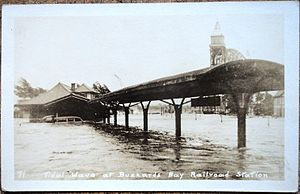 1938 New England hurricane - A postcard view of flooding from the hurricane at Buzzards Bay station
