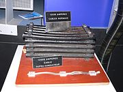 Electric cables for accelerators at CERN: top, regular cables for LEP; bottom, superconducting cables for the LHC.