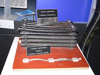 Superconductivity - Electric cables for accelerators at CERN. Both the massive and slim cables are rated for 12,500 A. Top: conventional cables for LEP; bottom: superconductor-based cables for the LHC