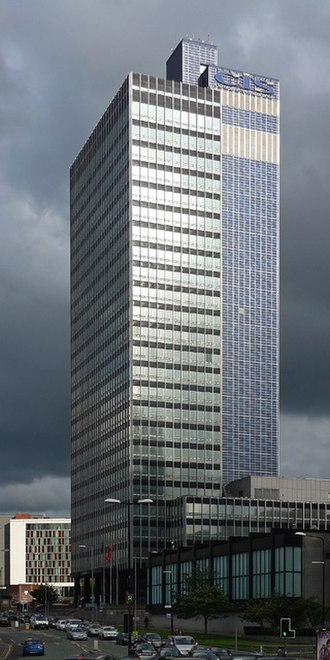 CIS Tower - The CIS Tower with service tower on the right
