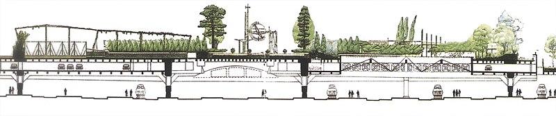 dessin montrant ltagement des quais de la gare du parc de stationnement et du jardin - Jardin Atlantique