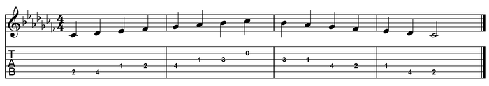 C flat major scale one octave (open position).png