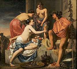 Bacchus on a Throne − Nymphs Offering Bacchus Wine and Fruit
