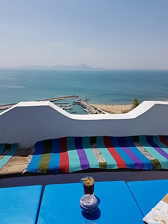 Sidi Bou Said - Cafe de delice and coast view