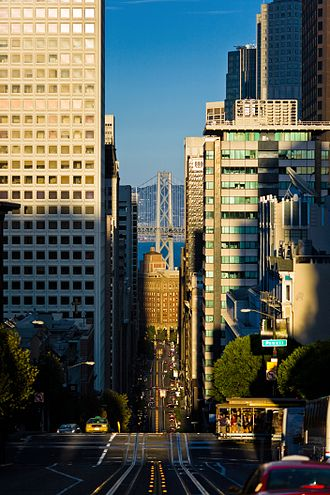 California Street (San Francisco) - View from the top of California Street Looking towards the financial district with the Bay Bridge in the background