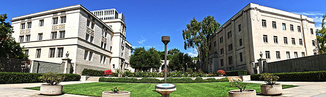 Caltech entrance at 1200 E California Blvd, as on the left is East Norman Bridge Laboratory of Physics and on the right is the Alfred Sloan Laboratory of Mathematics and Physics