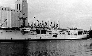HMS Campania (D48) - Campania in Festival Dress at Plymouth Docks.
