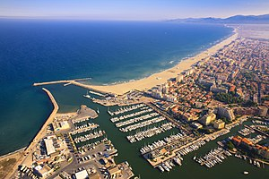 Canet-en-Roussillon - Aerial view of the port and the sea front at Canet-en-Roussillon