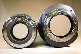 Canon EF 85mm lens - The EF mount for the f/1.8 and f/1.2L II lenses showing their wide apertures