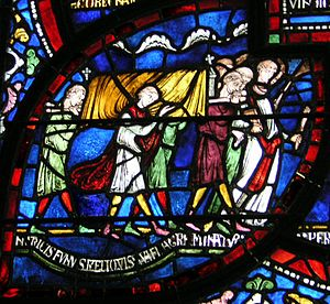 "Catholic funeral - Funeral procession from the ""Healing Window"" at Canterbury Cathedral."
