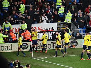 Jack Colback - Sunderland players celebrate Colback's last-minute equaliser against Cardiff on 28 December 2013.