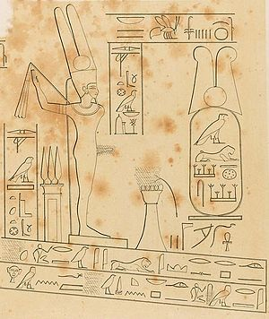 Artaxerxes I of Persia - The ancient Egyptian god Amun-Min in front of Artaxerxes' cartouche.