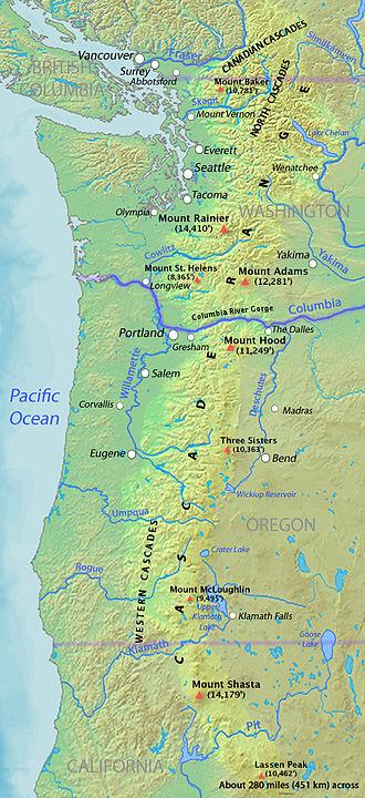Cascade Range - Map of the Cascade Range showing major volcanic peaks