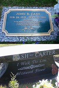Tumba de Johhny Cash (arriba) y lápida  la familia Mrs  Cash-(abajo).