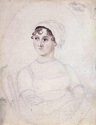 Regency era - Jane Austen, watercolour and pencil portrait by her sister Cassandra, 1810