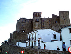 View of the medieval castle atop Castellar de la Frontera.