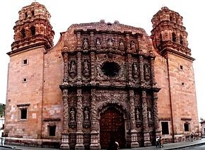 Panoramic of the main facade of the cathedral of zacatecas