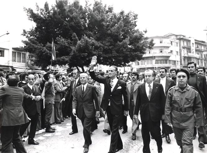 Celebrating the anniversary of the Kataeb in 1971 (William Hawi and Pierre Gemayel)