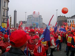Services in the Internal Market Directive 2006 - French and Belgian trade unions protesting against the directive in Brussels on 19 March 2005