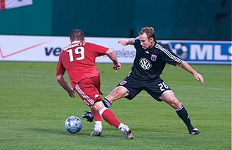 Bryan Namoff - Namoff challenging Chad Barrett in a 2008 regular season match at RFK Stadium
