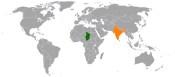 Map indicating locations of Chad and India