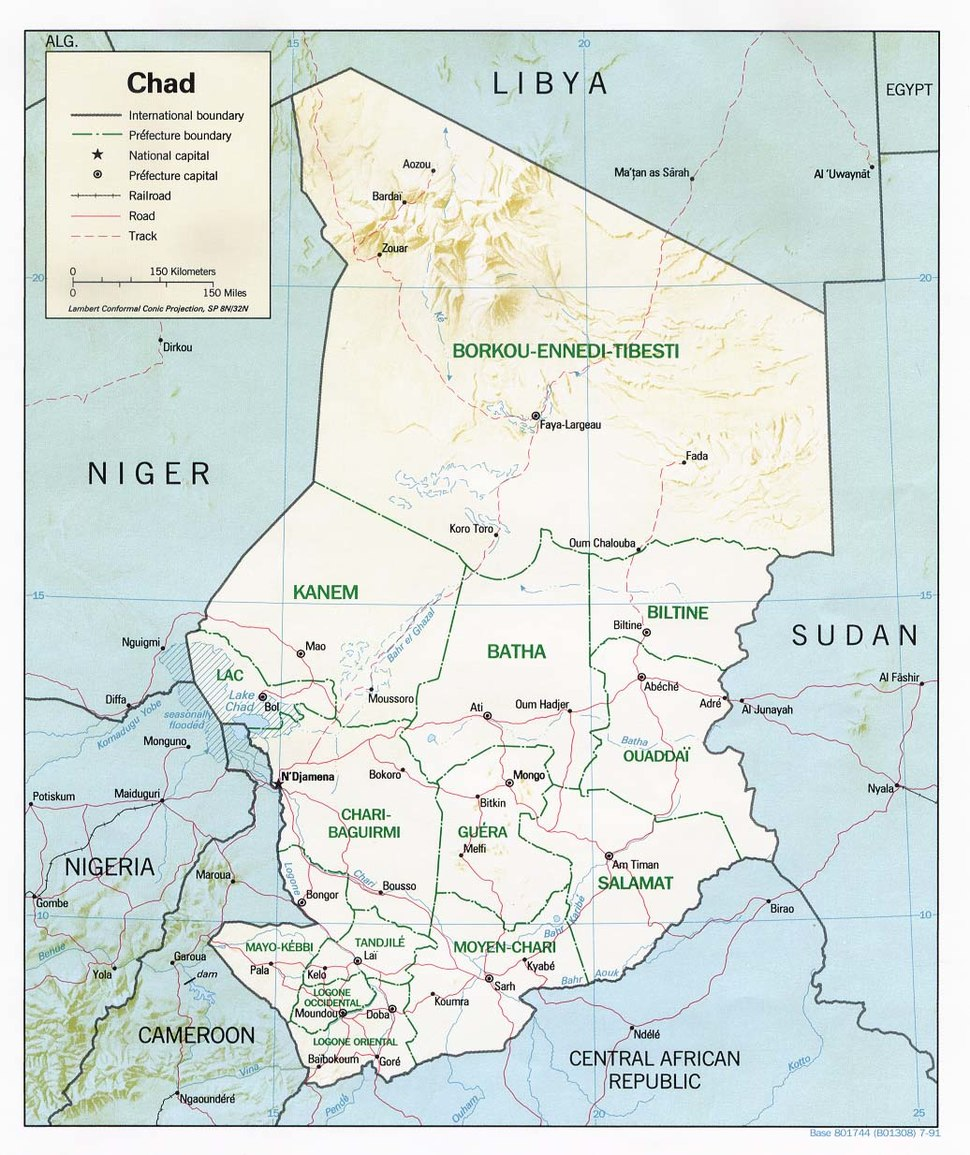 Chad relief map 1991, CIA