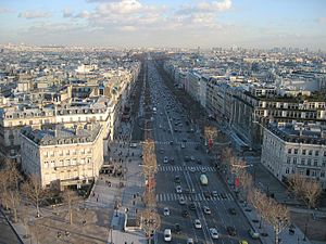 Looking east along the Champs-Élysées from the top of the Arc de Triomphe