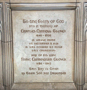 Charles C. Glover - Plaque commemorating Glover in Washington National Cathedral