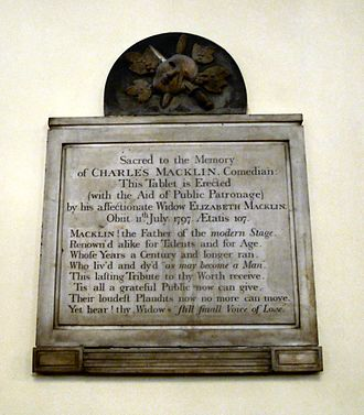 Charles Macklin - Macklin's memorial plaque in St Paul's in Covent Garden