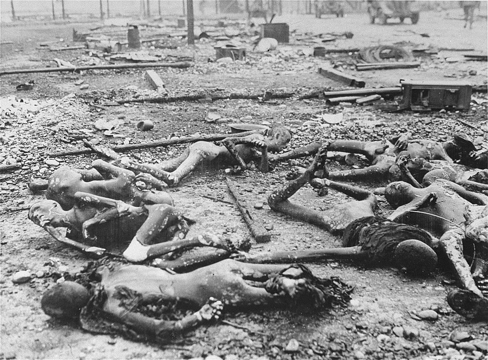 Charred corpses of prisoners after liberation of Kaufering IV