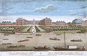 "Ranelagh Gardens - The relation of ""Ranelaigh Gardens"" (right) and the Royal Hospital Chelsea shown in another engraving by Thomas Bowles."