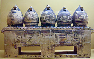 Granary - Ancient Greek geometric art box in the shape of granaries, 850 BC. On display in the Ancient Agora Museum in Athens, housed in the Stoa of Attalos.