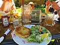 Chicken pot pie and Caesar salad at Riggers (9242316470).jpg