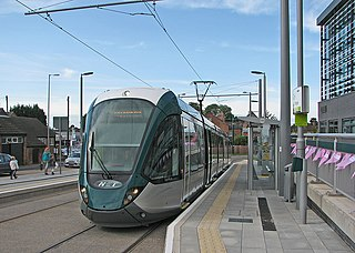 Nottingham Express Transit Light-rail tramway in Nottingham, England