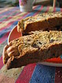 Chocolate chip-toasted hazelnut biscotti on colourful tablecloth.jpg