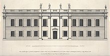 Drawing of a two-storey classical house with statues and urns along the roof