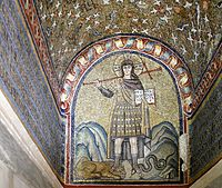 Christ treading the beasts - Chapel of Saint Andrew - Ravenna 2016.jpg