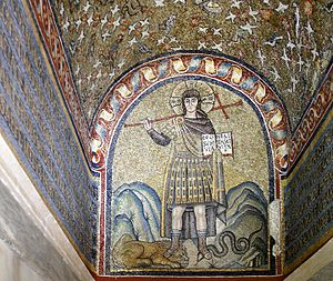 Christ treading on the beasts - Mosaic in the Archbishop's Chapel, Ravenna, 6th century