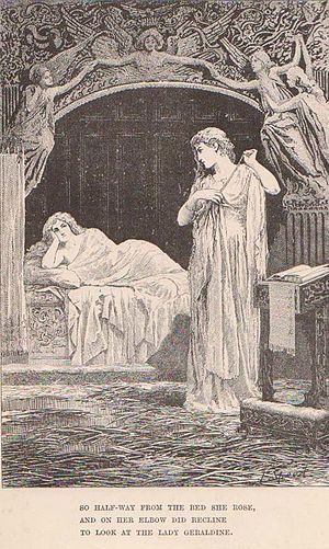 """Christabel (poem) - """"So halfway from her bed she rose, And on her elbow did recline to look at the Lady Geraldine."""""""