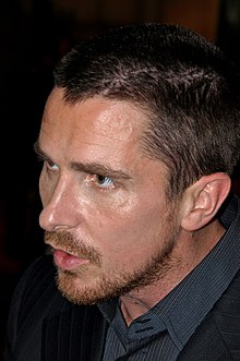Close-up of Christian Bale's face.