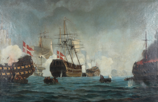 The Battle of Copenhagen by Christian Molsted. It shows a situation in the battle where Admiral Nelson sends a message - the small boat carrying Union Jack and a white flag - to the Danish side. Christian Molsted - Slaget pa Rheden.png
