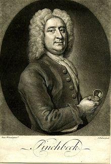 monochrome engraved illustration of a half-length portrait of a man, in an ornate wig, holding a pocket watch