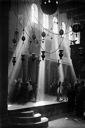 Church of the Nativity - The interior of the Church of the Nativity as photographed by Lewis Larsson of the American Colony, Jerusalem