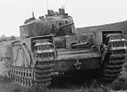 Churchill tank with 3 inch howitzer clip from IWM H 16962
